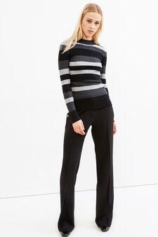 Pullover a costina cotone e lana, Nero, hi-res