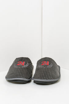 Patterned and embroidered slippers, Grey, hi-res