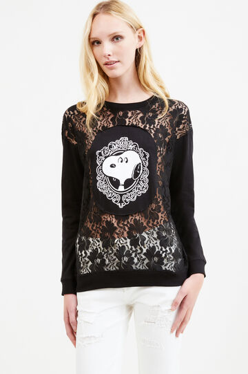 T-shirt with Snoopy print and lace, Black, hi-res