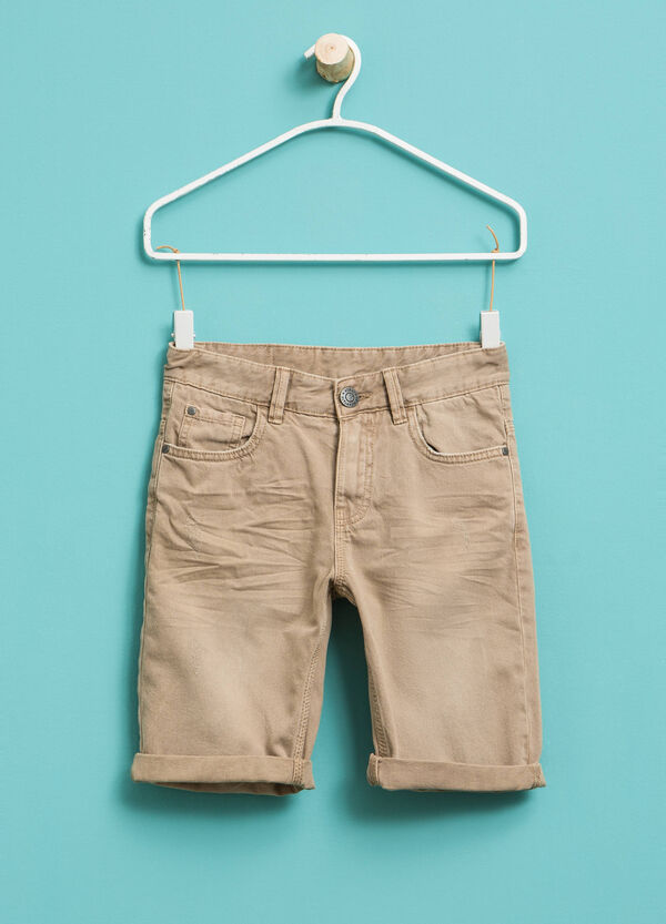 Cotton Bermuda shorts with worn effect | OVS