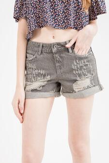 Shorts di jeans regular fit strappi, Grigio, hi-res