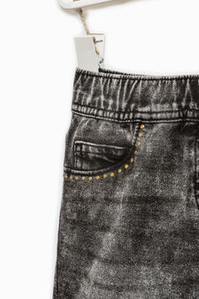 Stretch denim skirt with studs, Black, hi-res