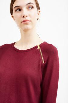 Stretch viscose dress with zip, Aubergine, hi-res