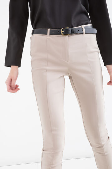 Stretch cotton blend trousers, Khaki, hi-res