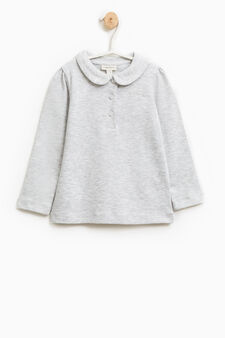 Polo shirt with long sleeves and diamanté design, Light Grey, hi-res