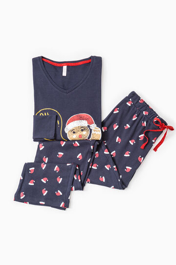 Cotton pyjamas with all-over print, Navy Blue, hi-res