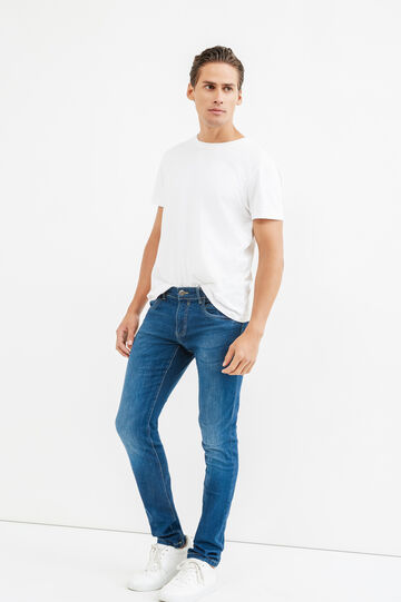 Faded, skinny-fit stretch jeans, Dark Wash, hi-res