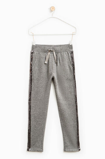 Trousers with lurex and sequins, Grey Marl, hi-res
