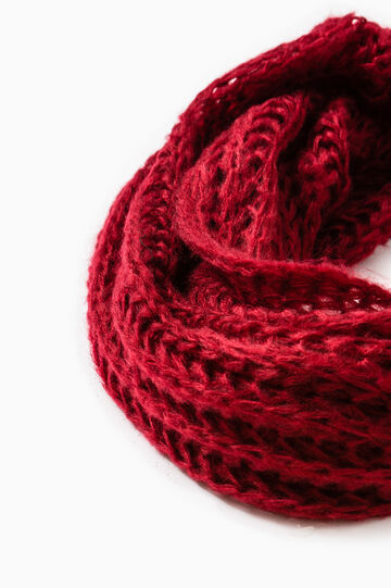 Solid colour knitted scarf, Dark Red, hi-res
