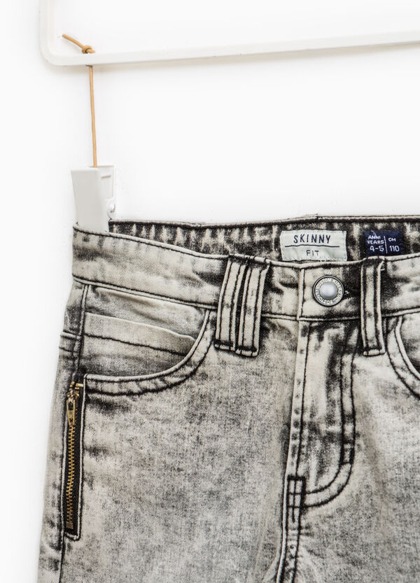 Skinny-fit stretch jeans with mis-dyed effect | OVS