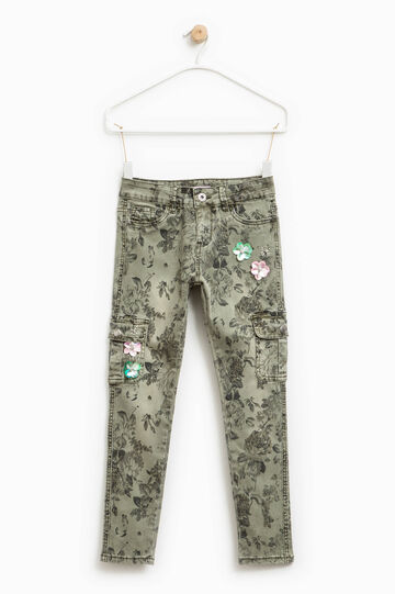 Floral patterned trousers with flowers and diamantés