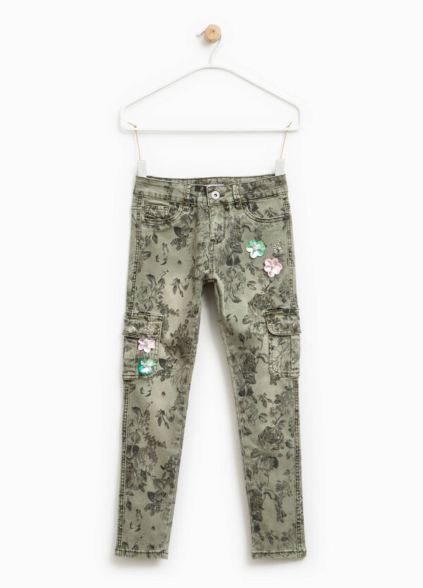 Floral patterned trousers with flowers and diamantés | OVS