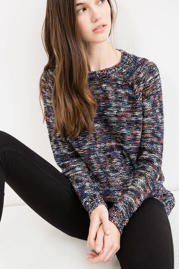 Pullover misto cotone tricot fantasia, Blu, hi-res