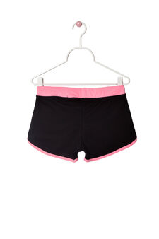 Shorts french terry con stampa, Nero/Rosa, hi-res