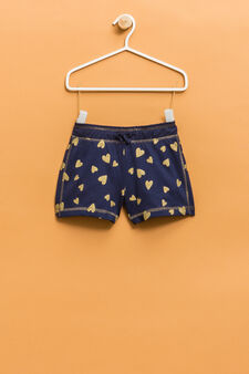 100% cotton shorts with heart print, Blue, hi-res