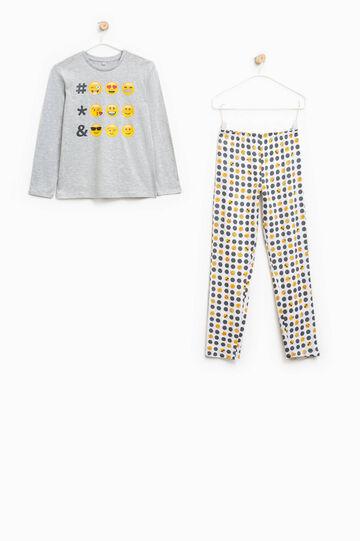 Smiley cotton pyjamas, Grey Marl, hi-res