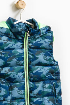 Quilted waistcoat with camouflage pattern, Navy Blue, hi-res