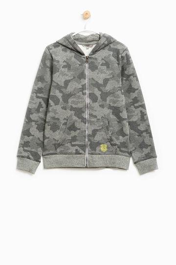 100% cotton sweatshirt with camouflage pattern, Grey, hi-res