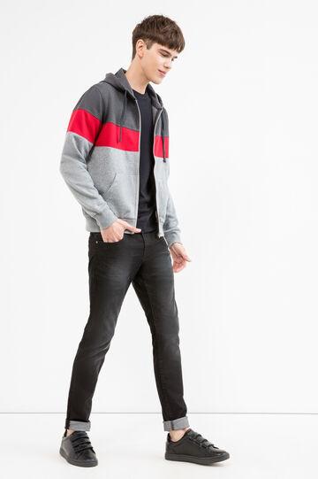 Multi-coloured cotton blend hoodie, Dark Grey, hi-res