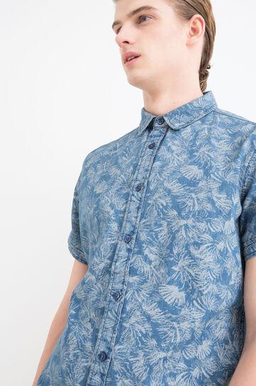 Camicia slim fit fantasia, Blu scuro, hi-res