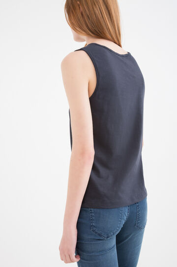 Printed vest in 100% cotton, Blue, hi-res