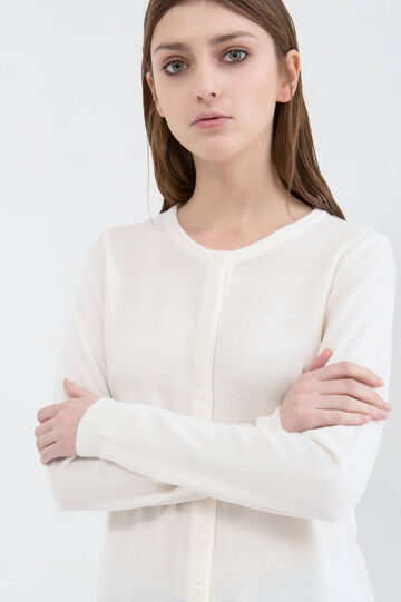 Solid colour cardigan with buttons, White, hi-res