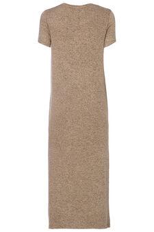 Smart Basic long dress in viscose blend, Light Brown, hi-res