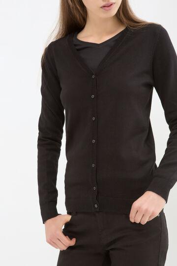 Solid colour cotton blend cardigan, Black, hi-res