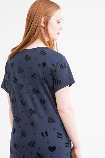 Curvy patterned, 100% cotton T-shirt, Navy Blue, hi-res