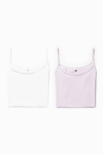 Two-pack stretch cotton under tops, White/Pink, hi-res