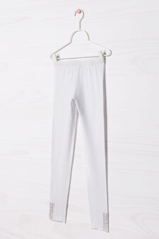 Stretch cotton leggings with stars, White, hi-res