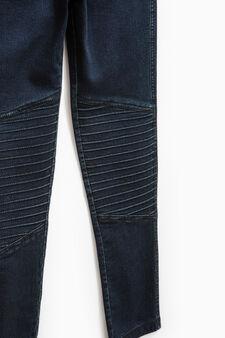 Solid colour stretch cotton jeggings, Blue, hi-res
