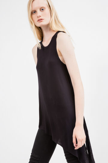 Stretch viscose top with asymmetric hem, Black, hi-res