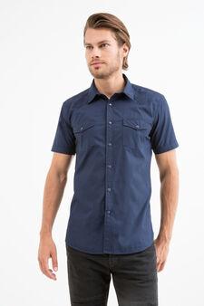 Solid colour 100% cotton shirt, Black, hi-res