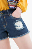 Denim shorts with rips, Dark Wash, hi-res