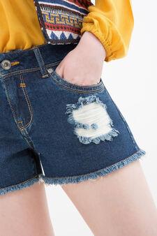 Shorts di jeans con strappi, Lavaggio scuro, hi-res