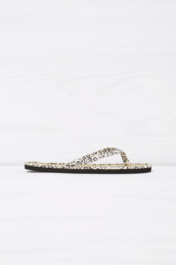 Patterned thong sandals, White, hi-res