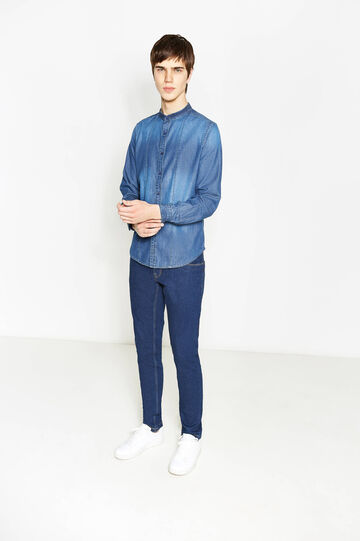 Slim-fit casual faded denim shirt, Denim, hi-res