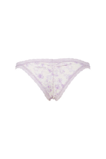 Stretch microfibre tanga brief with lace, White/Purple, hi-res