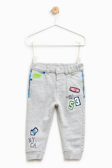 Trousers in cotton with print and patch, Grey Marl, hi-res