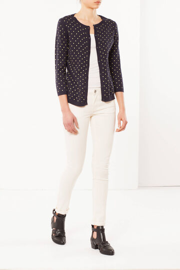 Polka dot cardigan in 100% cotton, Navy Blue, hi-res