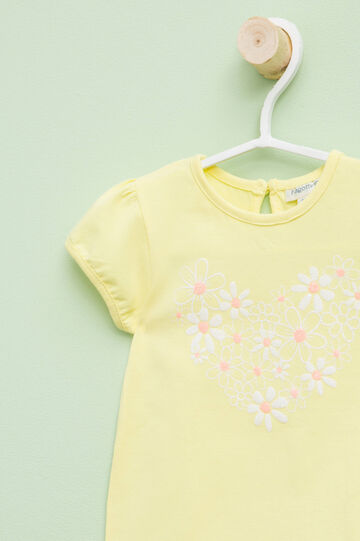 T-shirt with puff sleeves, Light Yellow, hi-res