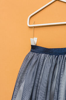 Tulle skirt with glitter waistband, Blue, hi-res