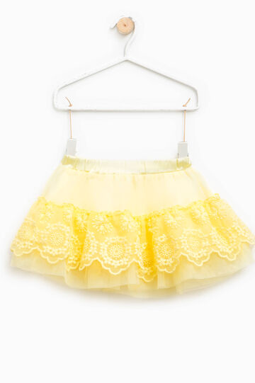 Gonna in tulle con pizzo, Giallo, hi-res