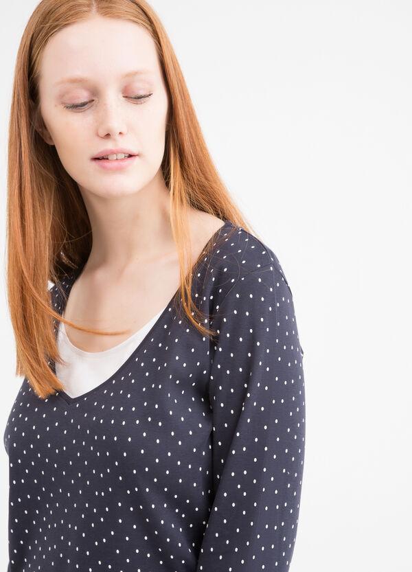 Curvy cotton faux double T-shirt | OVS