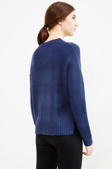 Pullover lavorato tricot a righe, Blu, hi-res