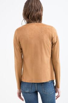 Suede look jacket, Light Brown, hi-res