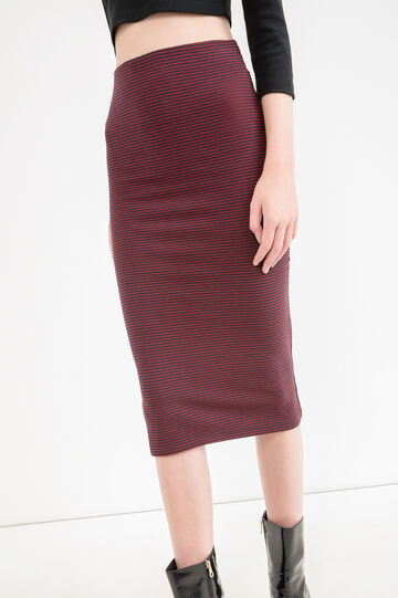 Stretch pencil skirt with striped pattern, Red, hi-res