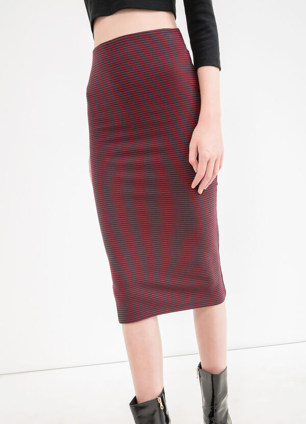 Stretch pencil skirt with striped pattern | OVS