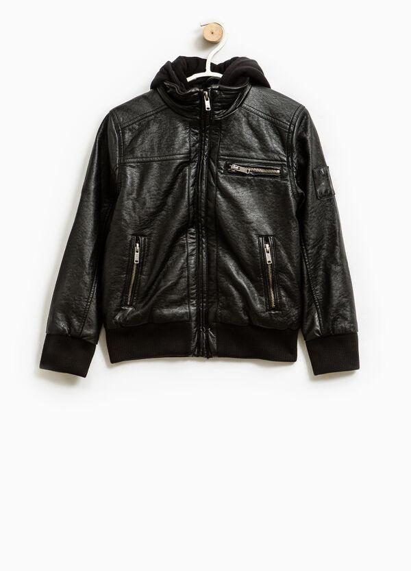 Plain leather look jacket | OVS